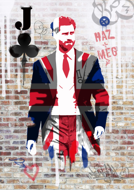 Dan Pearce  A Royal Wedding Special - Royal Flushed - Harry, 2018  Hand Embellished Framed Limited Edition  Framed Size 11 3/4 x 16 1/2 in  Framed Size 29.7 x 42 cm  Limited Edition of 50