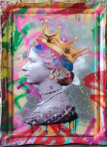 Dan Pearce Queen of Fashion- Summer , 2020 Original Spray Paint, Ink & Resin Hand Finished Frame Framed Size 39 3/8 x 29 1/2 in Framed Size 100 x 75 cm