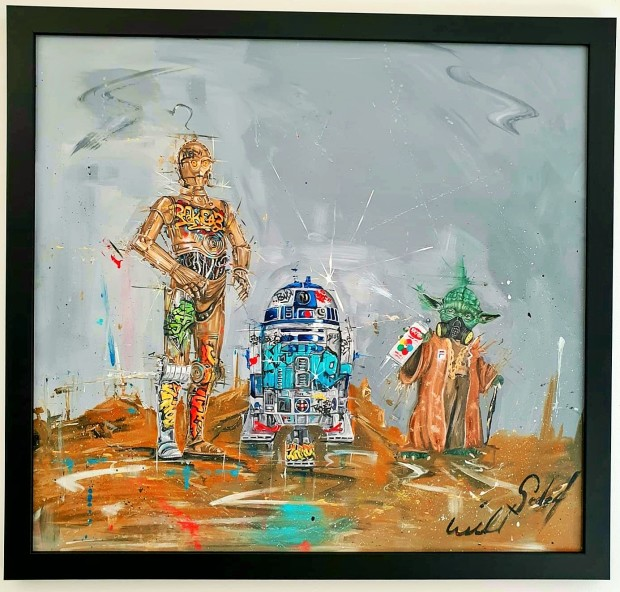 "Wild Seeley Graffiti Wars Original Canvas on Board Framed Size: 33"" x 35.5"" Framed Size: 84x 90cm"