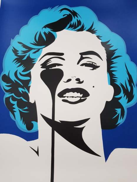 """Pure Evil I Dream of Marilyn - Glacier Blue Hair Limited Edition Screenprint of 100 Framed Image Size: 27.5"""" x 33.5 Framed Size: 31.5"""" x 37.5"""""""