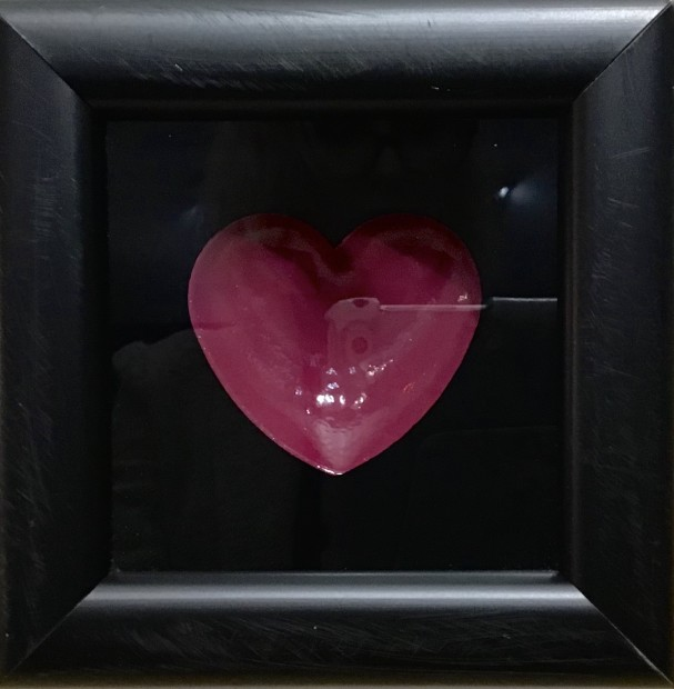 """RYCA - Ryan Callanan Mini Heart - Purple Open Edition Poptorian Artwork signed Some areas of the frame are slightly distressed which complements the crisp clean heart. Framed Size: 5"""" x5"""" x 2"""" Framed Size: 15cm x 15cm x5"""