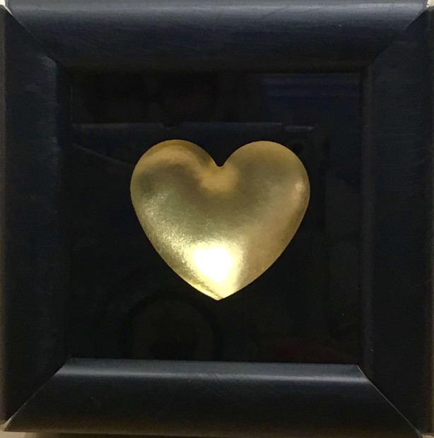 """RYCA - Ryan Callanan Mini Heart - Gold Open Edition Poptorian Artwork signed This piece contains a small gold heart. Some areas of the frame are slightly distressed which complements the crisp clean heart. Framed Size: 5"""" x5"""" x 2"""" Framed Size: 15cm x 15cm x5"""