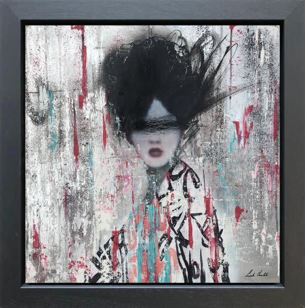 Linda Charles  Miiko, 2018  Original Mixed Media on Board Collage with a textured with a high lacquer finish  Framed Size: 72 x 72cm  Series: Geisher Series