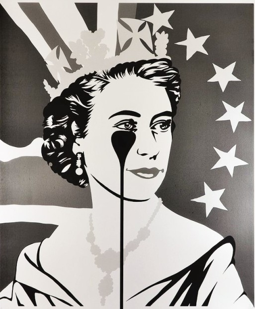 Pure Evil Brexit Nightmare - Monochrome Madness Original Stencil spray paint on canvas Image Size 39 3/8 x 39 3/8 x 3/4 in Image Size 100 x 100 x 2 cm