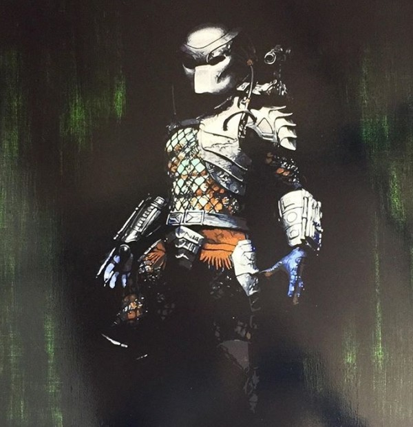Lee Henderson  Predator, 2018  Framed Original Mixed Media  Framed Size 28 x 28 in  Framed Size 71.1 x 71.1 cm