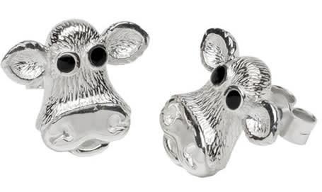Caroline Shotton, Moo! Sterling Silver Earrings