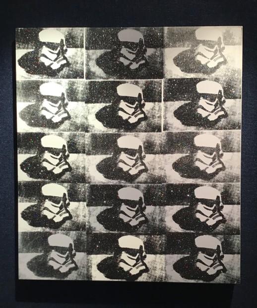 RYCA - Ryan Callanan Stormtrooper Helmet - Canvas B/W Mixed Media Box Canvas 29 1/2 x 33 1/2 in 75 x 85 cm Limited Edition 1 of 2