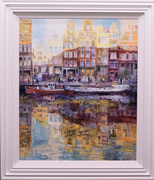 Veronika Benoni Amsterdam Shimmer , 2019 Mixed Media on Canvas with Gold Leaf Framed Size: 43 7/8 x 38 in Framed Size: 111.5 x 96.5 cm