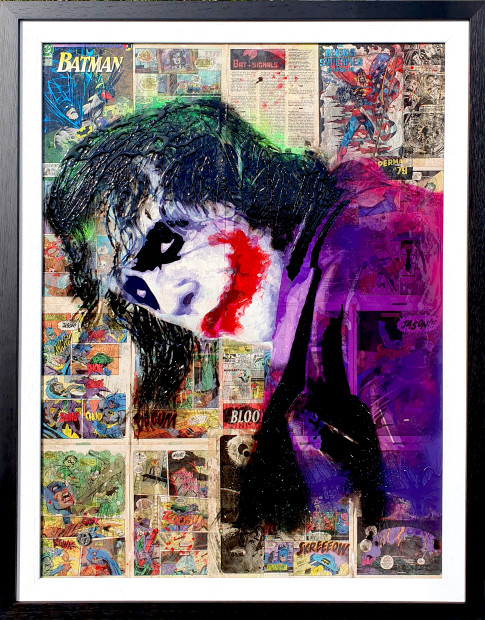 Dan Pearce Why So Serious?, 2019 Original. Spray paint, ink and resin. The Joker sits on top of a old DC Batman Comic from 1965 No.176 Finished in a sprayed swept frame. Framed Size 34 1/2 x 45 in Framed Size 87.6 x 114.3 cm Series: Icons