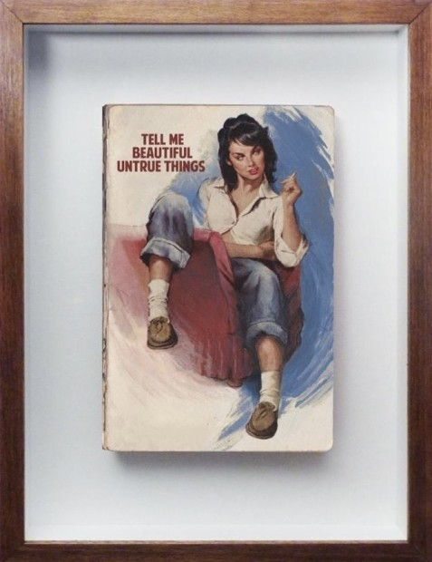 """The Connor Brothers Tell Me Beautiful Untrue Things (Book) Hand painted vintage paperback with silkscreen print Framed Size: 11"""" X 8.07"""" Framed Size: 27x21cm Edition of 2 plus 2 artist's proofs"""
