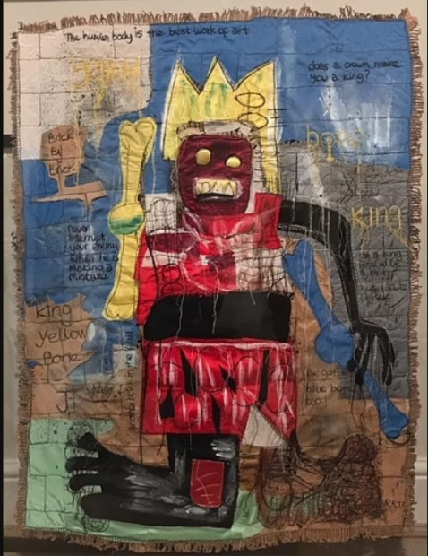 Roberta Roman For The Love Of Basquiat - Original, 2019 Textiles With Mixed Media Framed Size 38 1/4 x 30 3/4 in Framed Size 97 x 78 cm