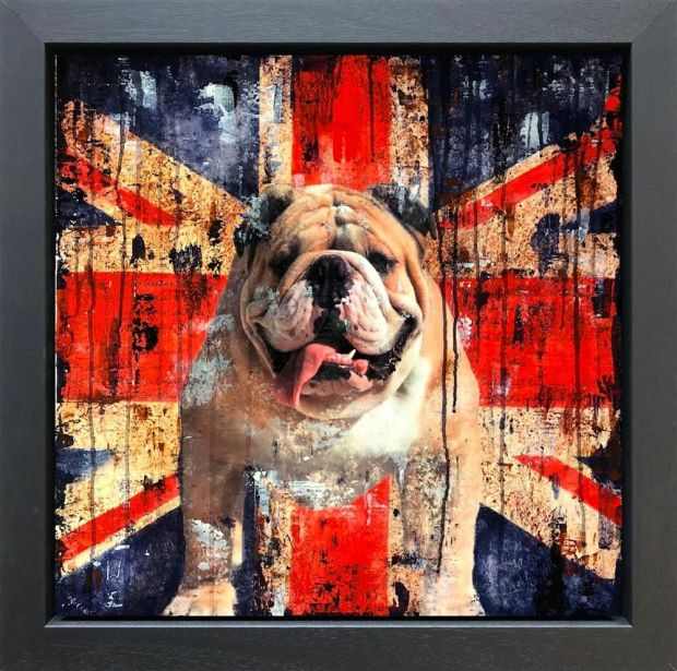 Linda Charles  Bulldog Courage, 2018  An Original Mixed Media Collage on Panel, Textured with high lacquer Finish  Framed Size 101 x 101 cm  Framed Size 39 3/4 x 39 3/4 in