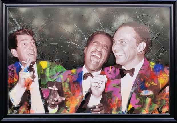 Dan Pearce Rat Pack - Black, 2020 Original Mixed Media On Board Framed Size: 36 1/4 x 52 in Framed Size: 92 x 132 cm