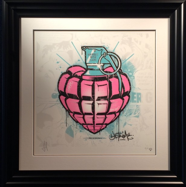 """JJ Adams Je t'aime (Handle with Care -) Valentine Hand pulled screen print Signed Limited Edition Platinum leaf embellishment on handle and grenade ring pull. Black frame Framed Size: 22.5"""" x 22.5"""" Limited Edition of 95"""
