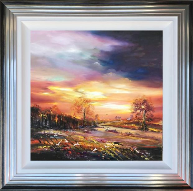 """Lillias Blackie  Autumn Home Coming, 2018  Original Oil on Board  Framed Size: 35"""" x 35"""""""