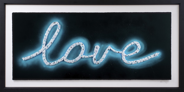 Emma Gibbons Neon Love - Blue, 2021 Signed, Numbered & Certified limited-Editions. Deckled & floated fine Art Museum Paper prints. Available across THREE separate colourway options, Pink, Blue & Purple Framed Size: 23 1/2 x 46 1/2 in Framed Size: 59.7 x 118.1 cm Edition of 25