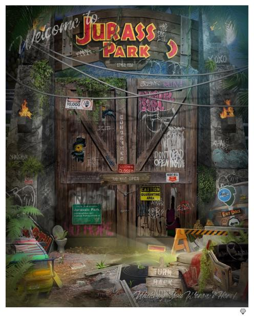 "JJ Adams Clever Girl (Jurassic Park), 2021 Signed Limited Edition Print Black Or White Frame Framed: 41.5"" x 35.5"" Edition of 95"