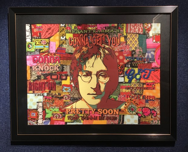 Roberta Roman John Lennon Instant Karma, 2019 Framed Limited Edition Print Hand Embellished Framed Size 30 3/4 x 24 3/4 in Framed Size 78 x 63 cm Limited Edition