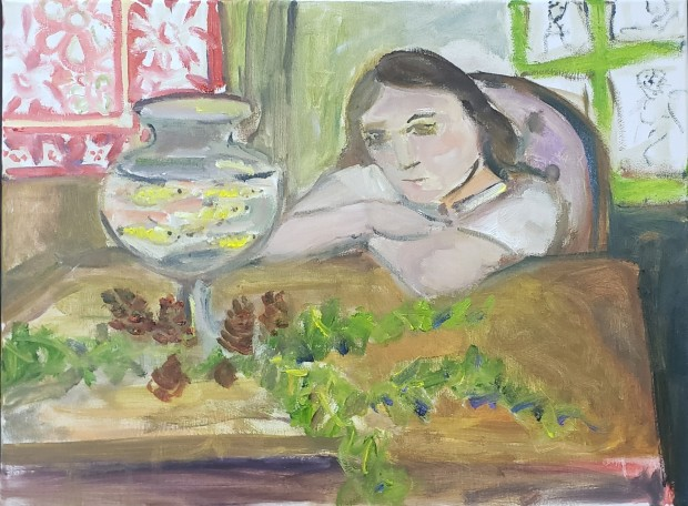 Jerrel Sustaita, Girl looking and goldfish, 2020