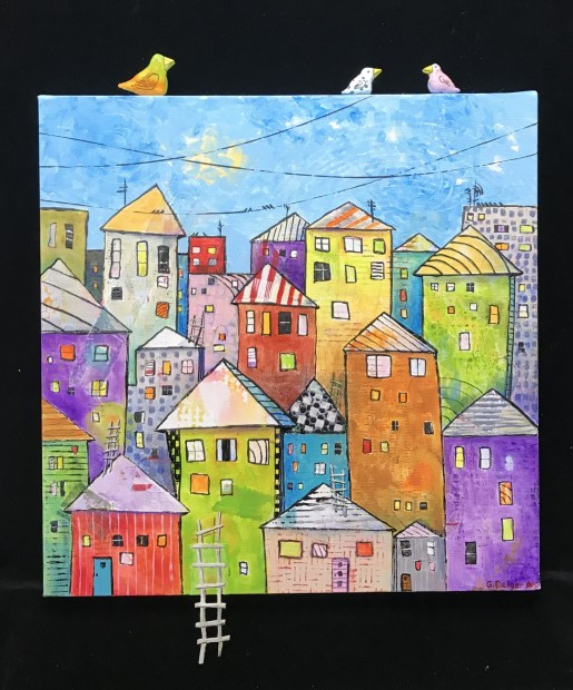 Gail Delger, Cityscape w/3 birds and ladder, 2020