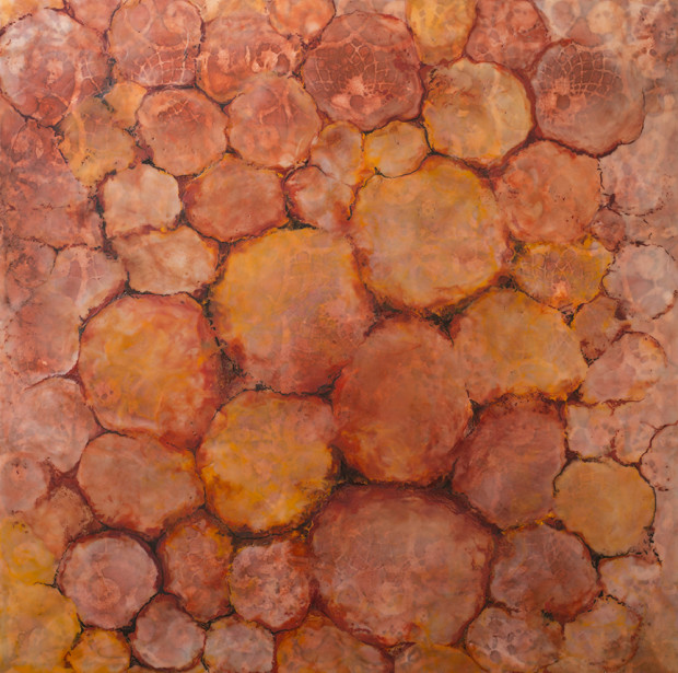 Janet Chaffee, Red Earth, Fe2O3 + CaCO3, 2015