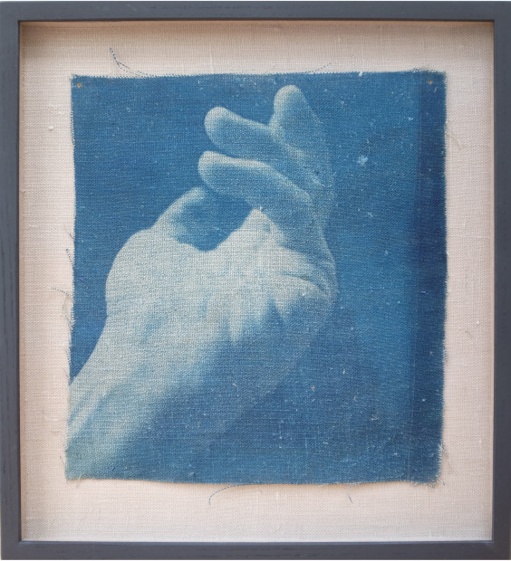 Adam Jeppesen Work no. 12, 2017 Cyanotype on linen Unique 30.5 x 30.8 cm 12 1/8 x 12 1/8 in