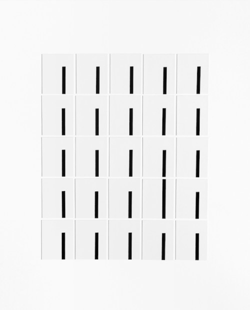 "Joanne Dugan Multiples 25, Grid #21, New York City, 2018 Silver gelatin photogram print collage 25 single 2 x 2.5"" gelatin silver prints Handmade and mounted on 20 x 16"" museum board Edition of three variants (#2)"