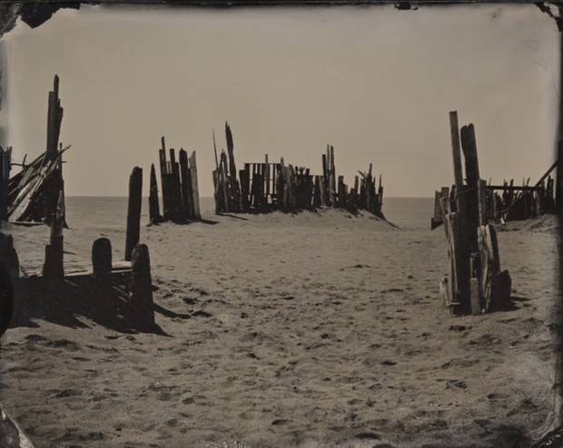 Joni Sternbach 04.05.20 #8 Beach Barrier Ambrotype 10.2 x 12.7 cm 4 x 5 in