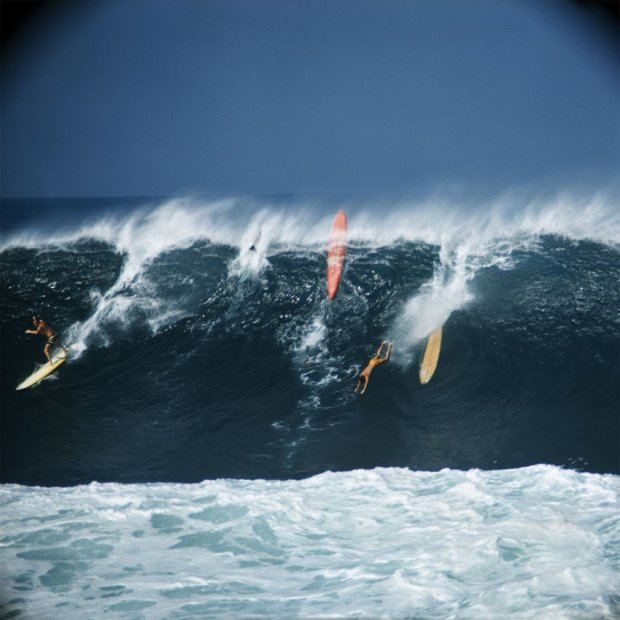 Greg Noll, Eddie Aikau and Bobby Cloutier, Waimea Bay