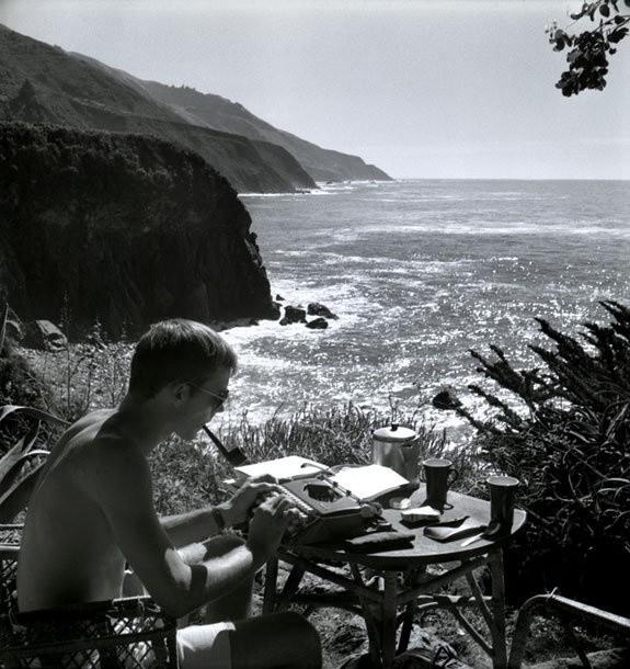Hunter S. Thompson, Self Portrait, Typing, Big Sur, 1961