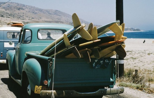 LeRoy Grannis, Granny's Truck on Explorer Scout Trip, Leo Carrillo State Beach, California, 1963