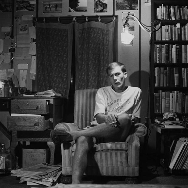 Hunter S. Thompson, Self Portrait, in Striped Chair, c. 1960s