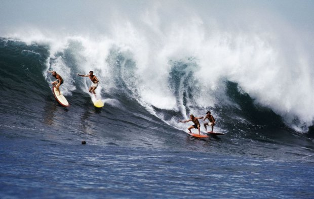 LeRoy Grannis, Down the Face, Waimea Bay, 1973