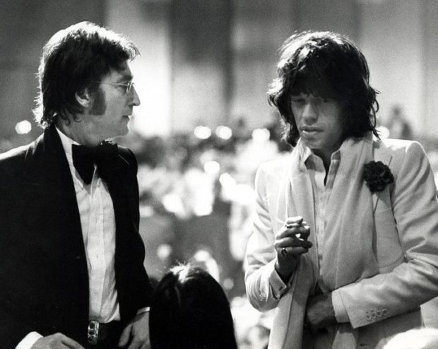 Ron Galella, John Lennon, Mick Jagger and May Pang attend the 2nd Annual AFI Lifetime Achievement Awards honoring James Cagney at the Beverly Hilton Hotel, March 13, 1974