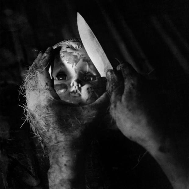Hunter S. Thompson, Doll Head with Knife, Woody Creek, Colorado, c. 1960s