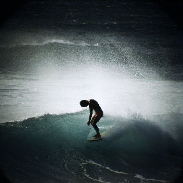 LeRoy Grannis, Midget Farrelly Surfing Shore Break, Makaha, 1968