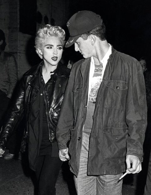 Ron Galella, Madonna and Sean Penn attend a performance of Goose and TomTom, New York, August 28, 1986