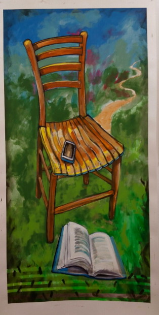 E. Tilly Strauss, Wood chair with many paths, 2015