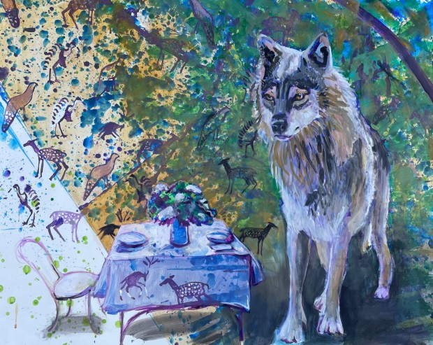 E. Tilly Strauss, A Wolf- Invite to Dine, 2021