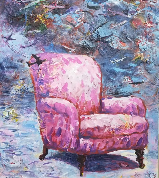 E. Tilly Strauss, Pink Chair with Planes, 2017