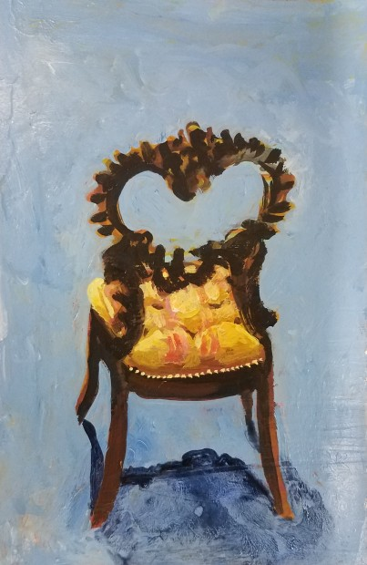 E. Tilly Strauss, Chair Back with yellow cushion, 2018