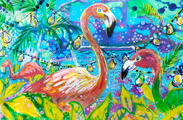 E. Tilly Strauss, Flamingo Outdoor Party, 2019