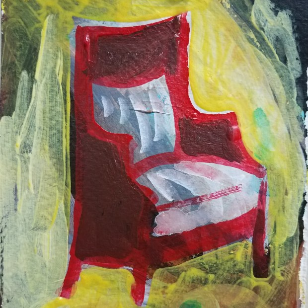 E. Tilly Strauss, Red Chair (memory of Frank), 2018