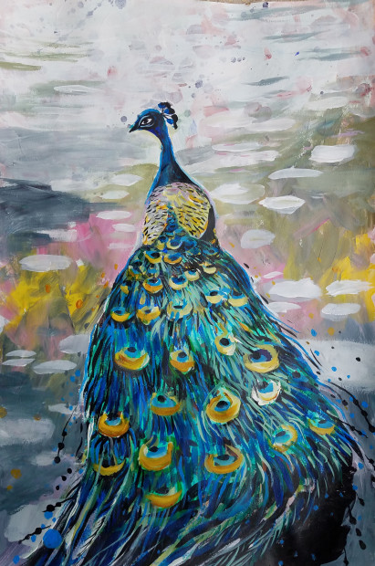 E. Tilly Strauss, Peacock in Dapple Light, 2019