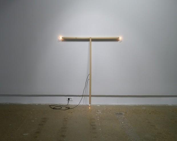"Ryan Goolsby, ""Untitled"", 2014. Wood, electrical wiring, socket bulbs. 50.5 x 46 x 1"""