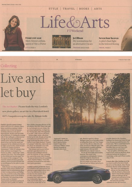 PRESS COVERAGE: Financial Times Life & Arts