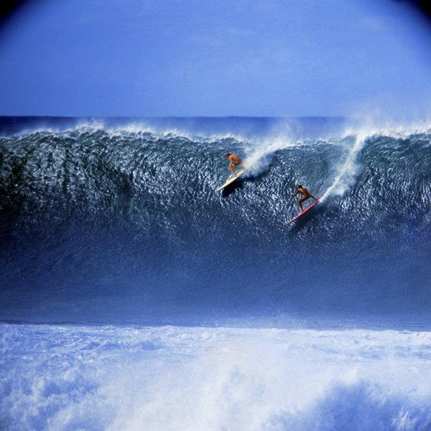 LeRoy Grannis, Rusty Miller and Tiger Espere, Waimea Bay (No. 101), 1966