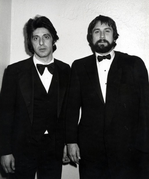 Ron Galella, Al Pacino and Robert DeNiro attend the party for Night of 100 Stars at the New York Hilton Hotel, New York, February 14, 1982