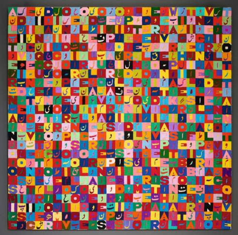"<span class=""artist""><strong>Alighiero Boetti</strong></span>, <span class=""title""><em>Alternandosi e Dividendosi (Positivo-Negativo)</em>, 1988-89</span>"