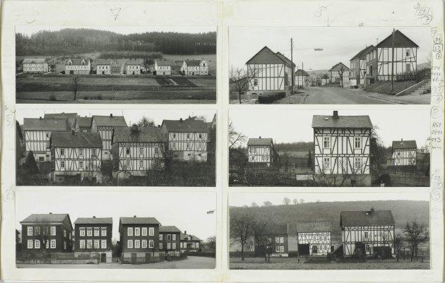 """<span class=""""artist""""><strong>Bernd & Hilla Becher</strong></span>, <span class=""""title""""><em>Fachwerkhäuser des Siegener Industriegebietes</em>, 1965</span>"""